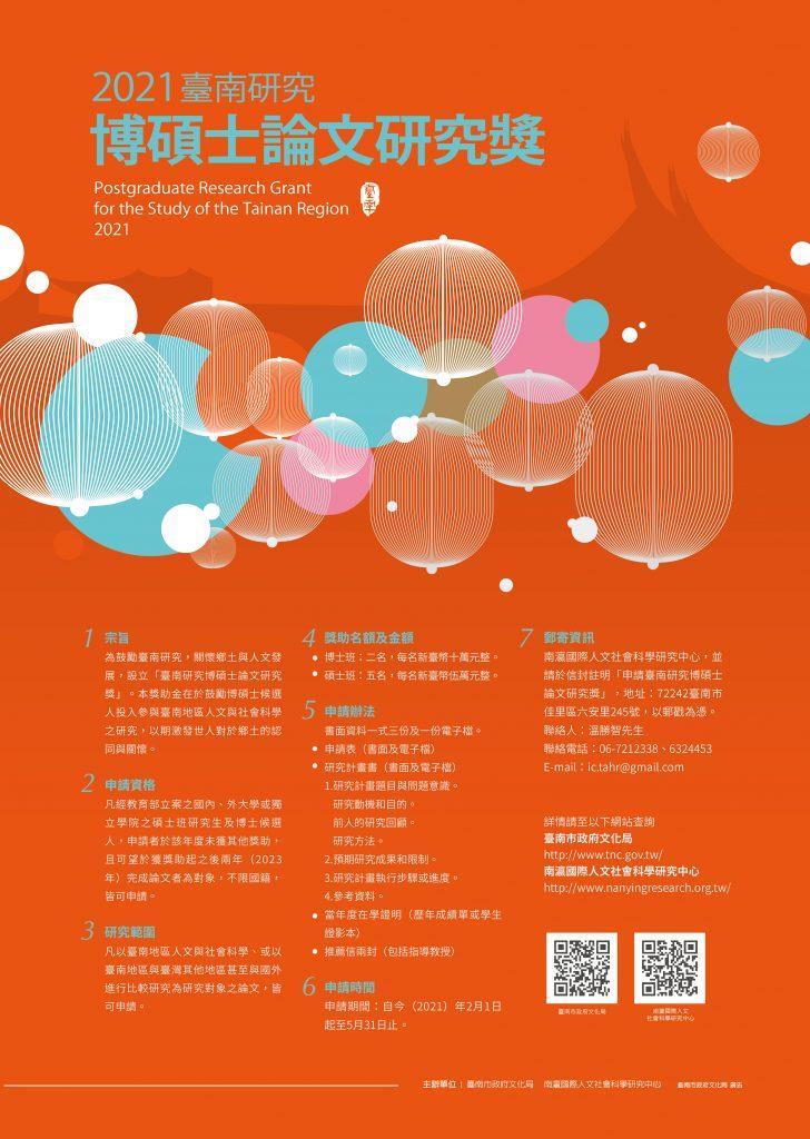 2021年臺南研究博碩士論文獎學金海報